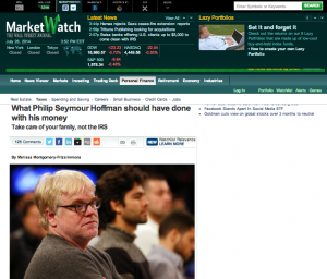 """MarketWatch Article, """"What Philip Seymour Hoffman should have done with his money"""""""