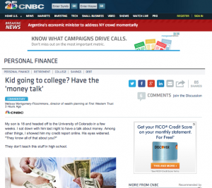 """CNBC article, """"Kids going to college? Have the 'money talk'"""""""