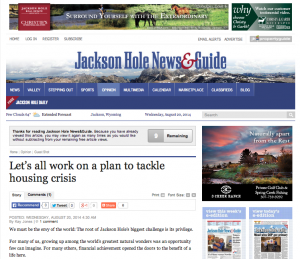 housing mortgages Jackson Hole News and Guide article
