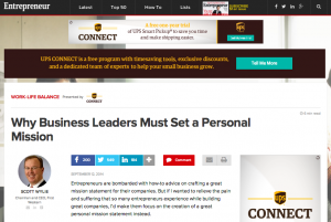 "Entrepreneur article, ""Why Business Leaders Must Set a Personal Mission"""