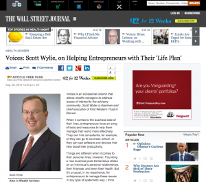 "Wall Street Journal article, ""Voices: Scott Wylie on Helping Entrepreneurs with Their 'Life Plan'"""