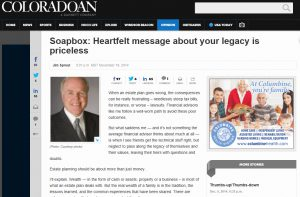 """Coloradoan article, """"Soapbox: Heartfelt message about your legacy is priceless"""""""