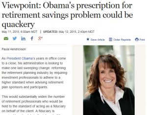 """Viewpoint: Obama's prescription for retirement savings problem could be quackery"" article"