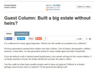 Screenshot of article titled: Built a big estate without heirs