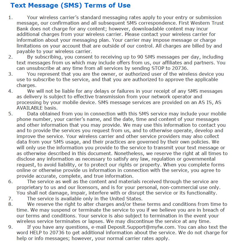 Text Message Terms of Usage